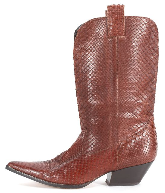MICHAEL KORS COLLECTION Brown Snakeskin Leather Western Boots