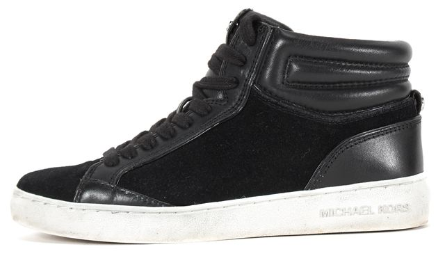 MICHAEL KORS COLLECTION Black Suede Paige High-Top Sneakers