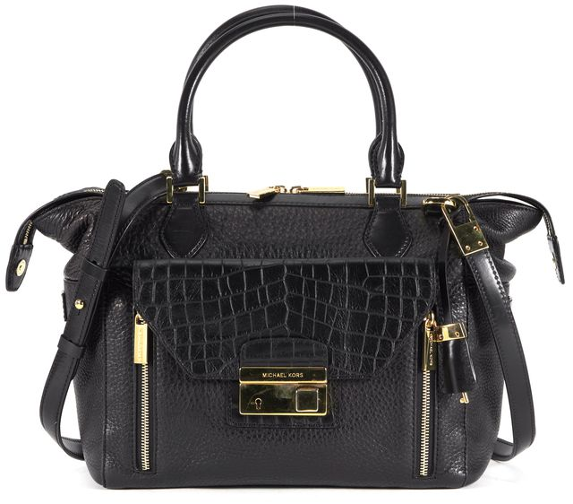 MICHAEL KORS COLLECTION Black Pebbled Croc Embossed Leather Satchel Bag