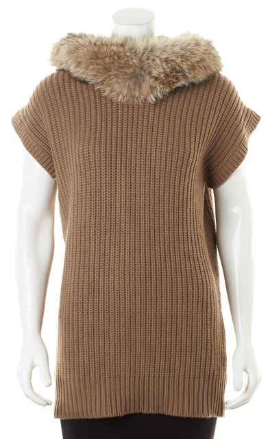 MICHAEL KORS COLLECTION Brown Cashmere Wool Fur Trim Hooded Sweater
