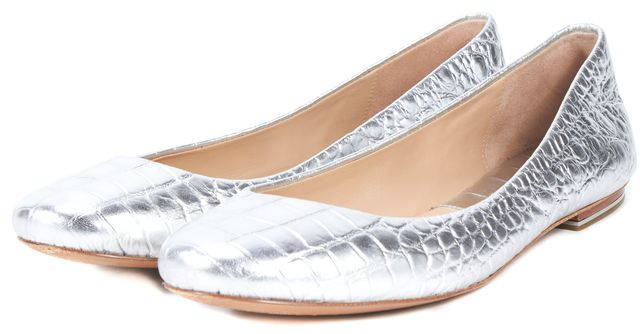 MICHAEL KORS COLLECTION Silver Crocodile Embossed Leather Flats