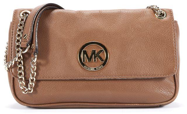 MICHAEL MICHAEL KORS Brown Leather Logo Front Crossbody Shoulder Bag
