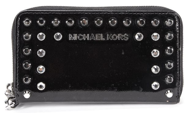 MICHAEL KORS Black Stud Crystal Embellished Leather Wallet
