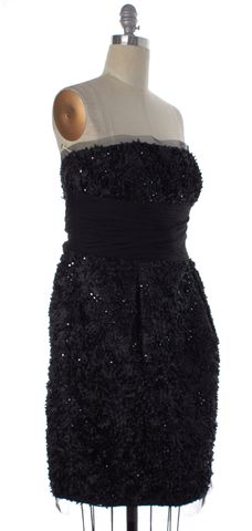 ML MONIQUE LHUILLIER Black Sequin Embellished Silk Strapless Dress