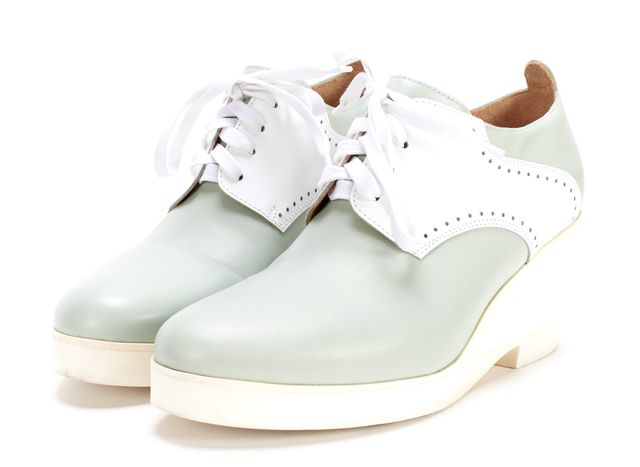 MM6 MAISON MARTIN MARGIELA Mint Green White Leather Oxford Wedges