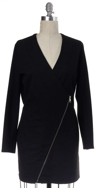 MM6 MAISON MARTIN MARGIELA Charcoal Gray Zipper Wrap Mini Dress