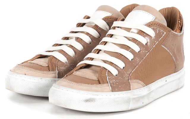 MM6 MAISON MARTIN MARGIELA Beige Gold Paneled Leather Low Top Sneakers
