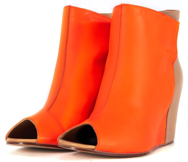 MM6 MAISON MARTIN MARGIELA Orange Beige Leather Open Toe Bootie Wedges