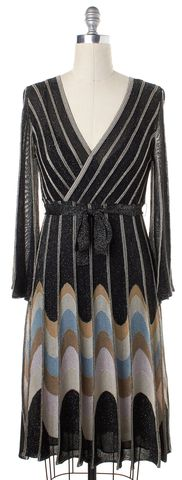 M MISSONI Black Silver Multi Colored Striped Belted Wrap Dress Size 10