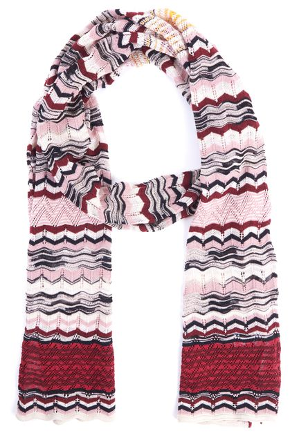 M MISSONI Pink Red Striped Knit Scarf