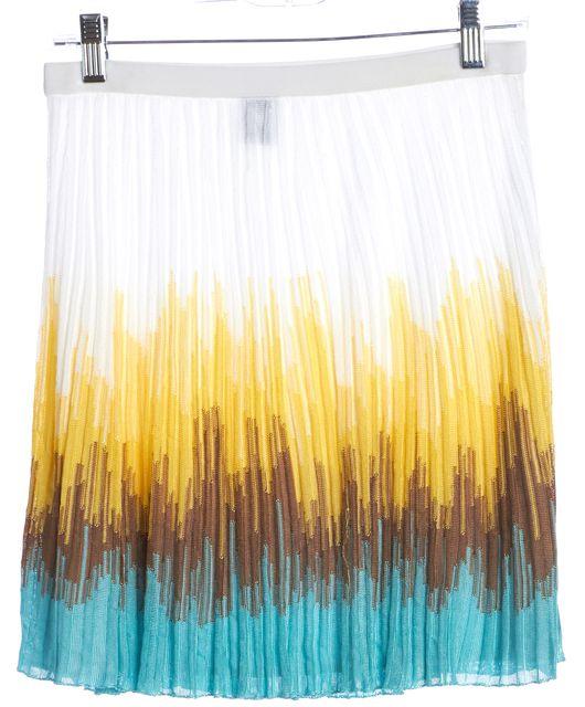 M MISSONI Multi-Color Colorblock Pleated Knit Skirt