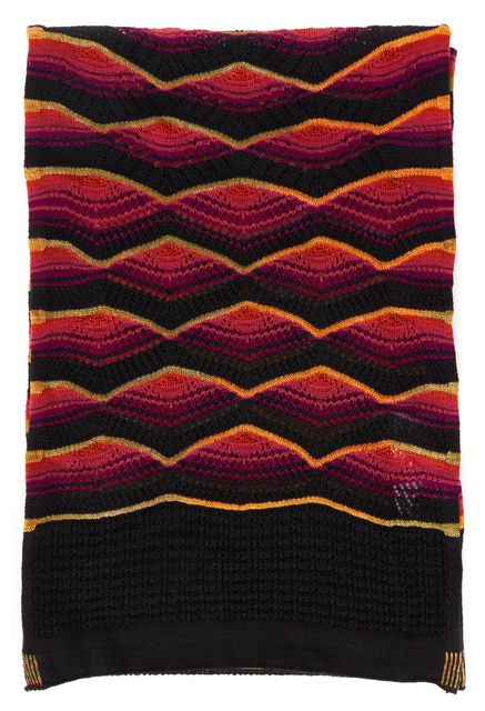 M MISSONI Black Pink Orange Chevron Striped Sheer Open Knit Scarf