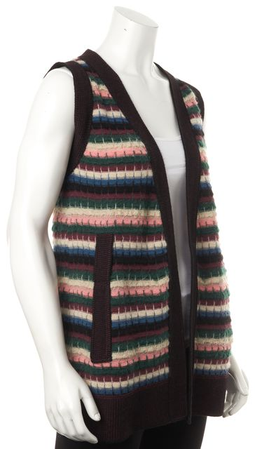 M MISSONI Green Pink Burgundy Striped Casual Wool Knit Long Vest Sweater