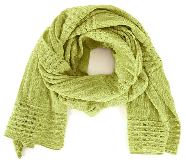 M MISSONI Lime Green Knit Scarf