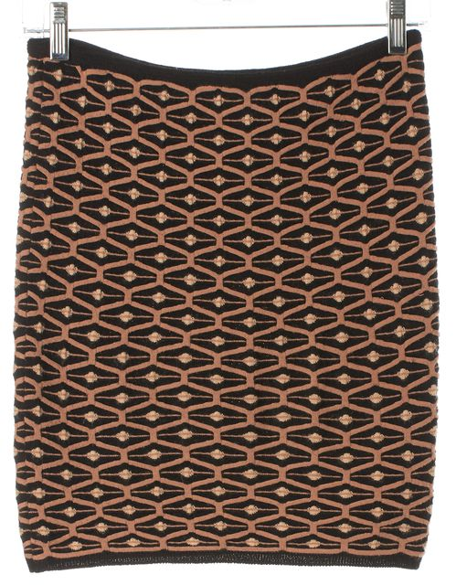 M MISSONI Brown Black Ivory Abstract Mini Stretch Knit Skirt