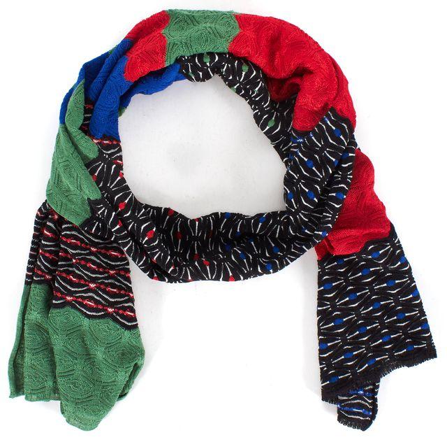 M MISSONI Green Black White Red Geometric Knit Scarf
