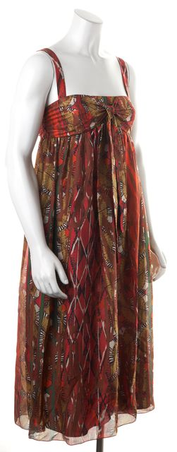 M MISSONI Brown Red Yellow Abstract Silk Empire Waist Dress