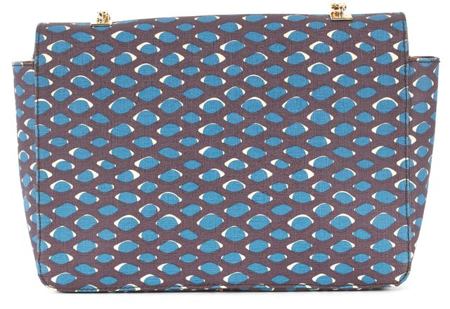 M MISSONI Purple Teal Blue Coated Canvas Gold Chain Shoulder Bag