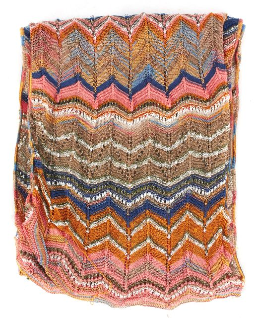 M MISSONI Beige Pink Orange Zig-Zag Chevron Knit Scarf
