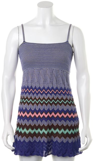 M MISSONI Blue Pink Chevron Striped Sheath Dress