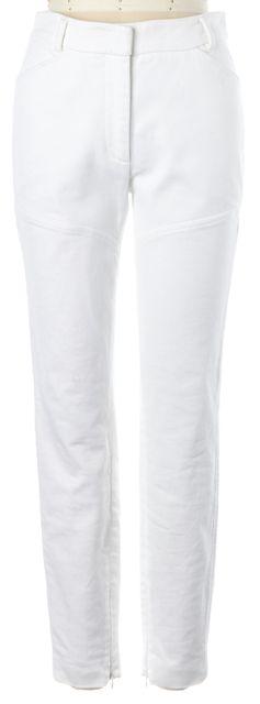 M MISSONI White Pique Cotton Skinny Leg Ankle Zip Trousers Pants