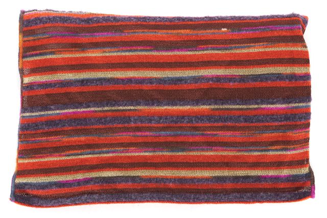 M MISSONI Orange Purple Brown Striped Wool Knit Scarf