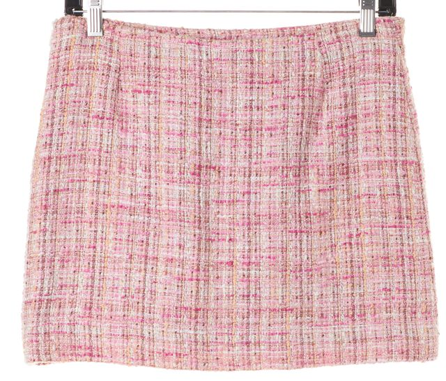 M MISSONI Pink White Boucle Above Knee Straight Skirt