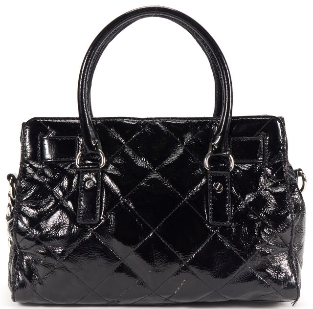MICHAEL MICHAEL KORS Black Quilted Patent leather Top Handle Bag