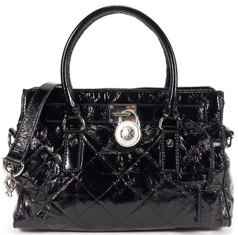 MICHAEL MICHAEL KORS Authentic Black Quilted Patent leather Top Handle Bag