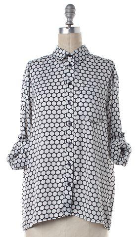 MICHAEL MICHAEL KORS Black White Polka Dot Button Down Shirt Blouse