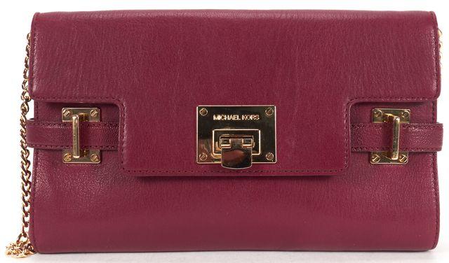 MICHAEL MICHAEL KORS Burgundy Red Leather Chain Strap Shoulder Bag