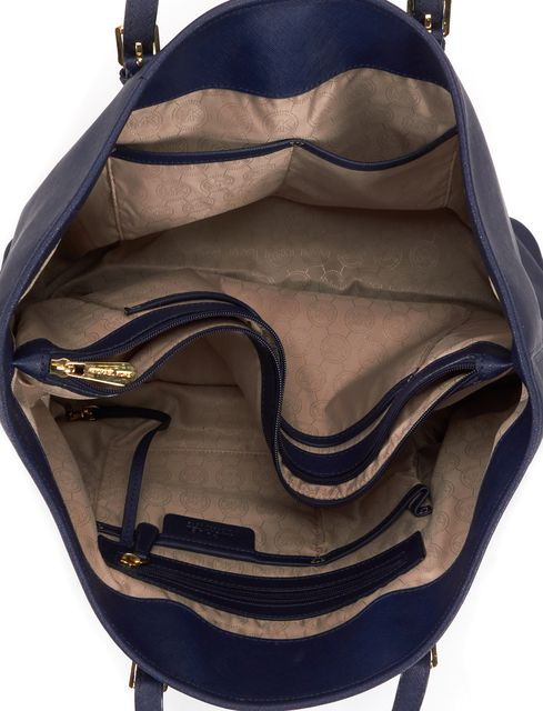 MICHAEL MICHAEL KORS Navy Saffiano Leather Jet Set Tote Bag