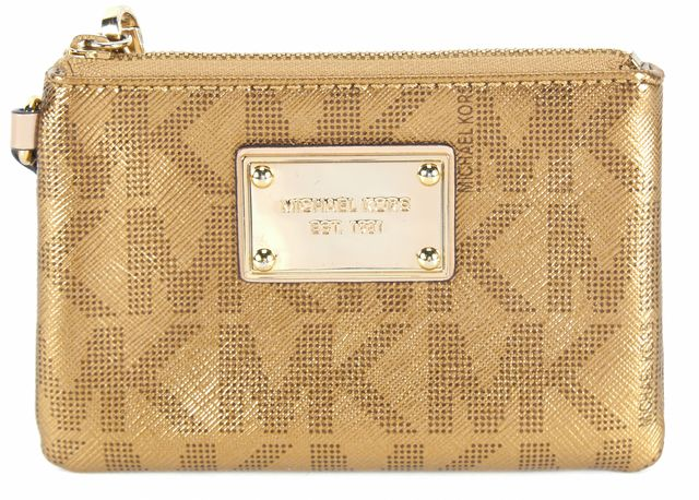 MICHAEL MICHAEL KORS Gold Monogram Faux Leather Convertible Wristlet