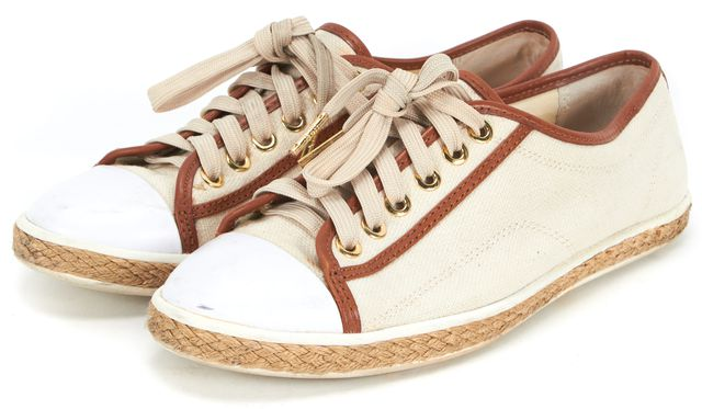 MICHAEL MICHAEL KORS Beige Brown Canvas Leather Trim Espadrille Sneakers