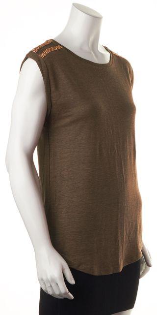 MICHAEL MICHAEL KORS Green Gold Stud Embellished Linen Knit Tee Top