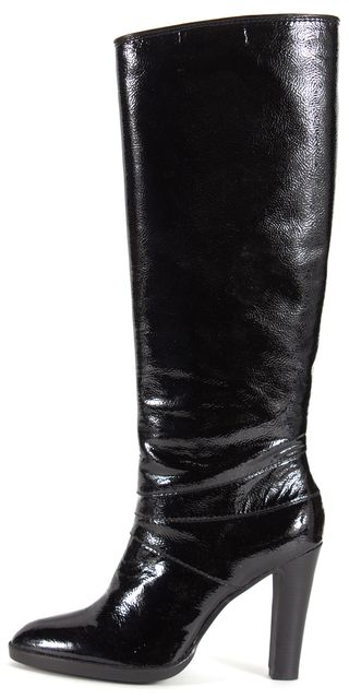 MICHAEL MICHAEL KORS Black Patent Leather Heeled Knee-High Boots