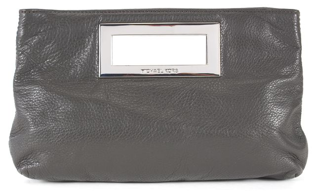 MICHAEL MICHAEL KORS Gray Pebbled Leather Silver Hardware Clutch