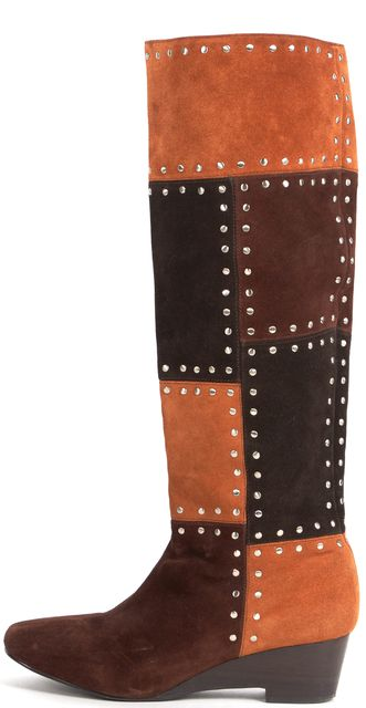 MICHAEL MICHAEL KORS Brown Suede Studded Patchwork Knee-High Boots
