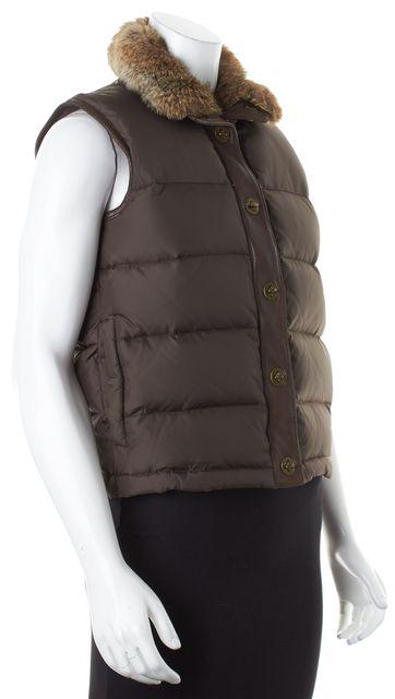MICHAEL MICHAEL KORS Brown Rabbit Collared Puffer Vest