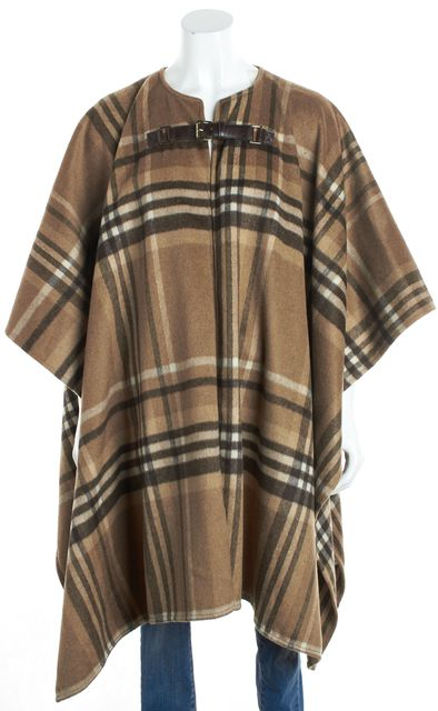 MICHAEL MICHAEL KORS Brown Plaid Poncho Coat