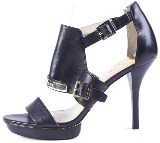 MICHAEL MICHAEL KORS Black Gold Leather Buckle Stiletto Open Toe Heels