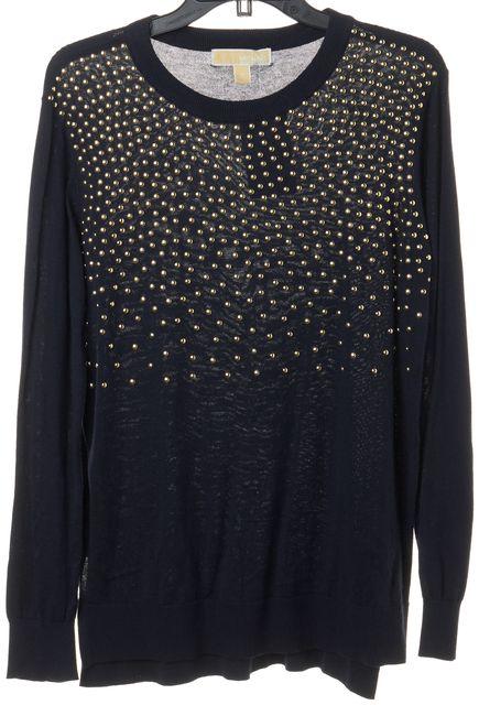258daf353c8 MICHAEL MICHAEL KORS Black Crewneck Sweater Cardigan Sweatshirt Size ...