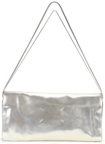 MAISON MARTIN MARGIELA Auth Silver Leather Laser-Cut Textured Shoulder Bag