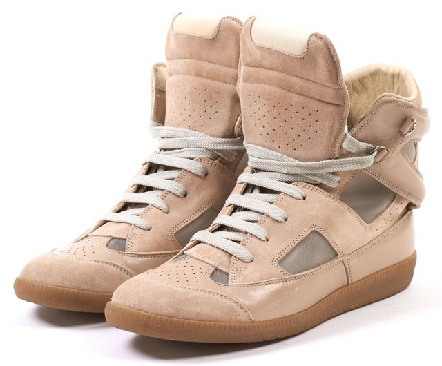 MAISON MARTIN MARGIELA Blush Pink Suede Mesh Lace Up High Top Sneakers