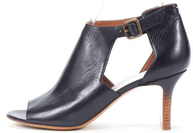 MAISON MARTIN MARGIELA Black Leather Cutout Stack Heeled Booties