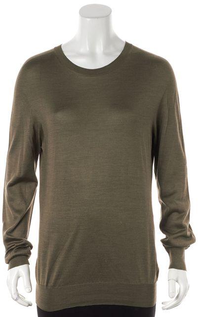 MAISON MARTIN MARGIELA Green Semi-Sheer Silk Long Sleeve Crewneck Sweater