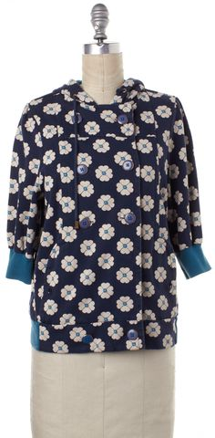 MARC BY MARC JACOBS Blue Ivory Cotton Floral Zip Up Hooded Jacket