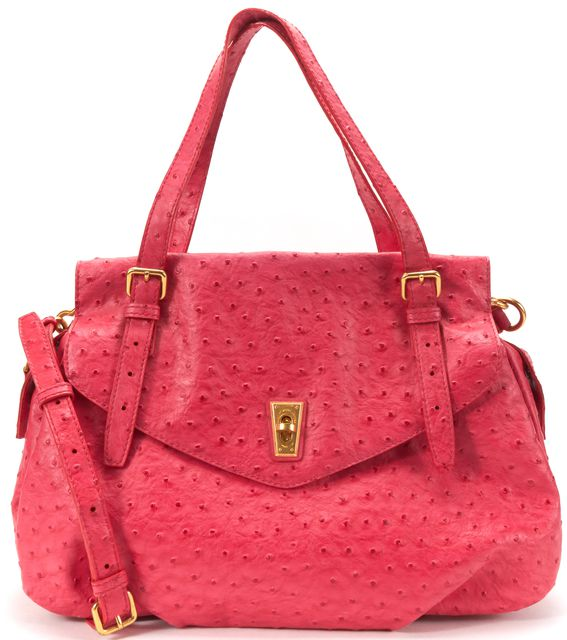 MARC BY MARC JACOBS Pink Ostrich Embossed Leather Ozzie Tote