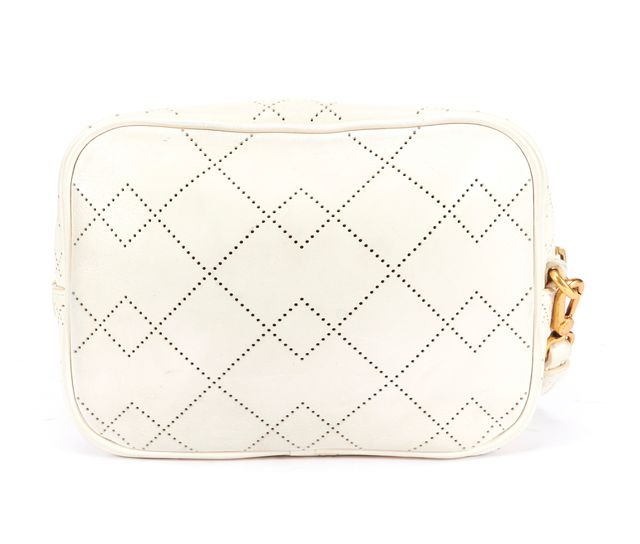 MARC BY MARC JACOBS White Leather Perforated Gold Hardware Crossbody Bag