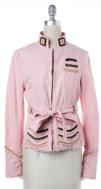 MARC BY MARC JACOBS Pink Striped Distressed Basic Jacket
